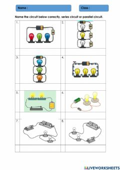 Interactive worksheet Eletricity - series and parallel circuit