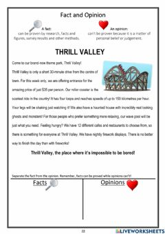 Interactive worksheet Fact or Opinion