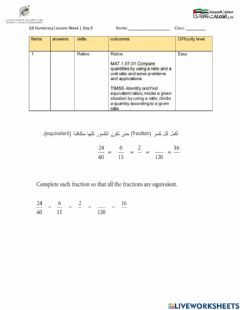 Interactive worksheet G8 Numeracy Lessons Week 1 Day 3