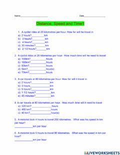 Interactive worksheet Distance, Speed and Time 1