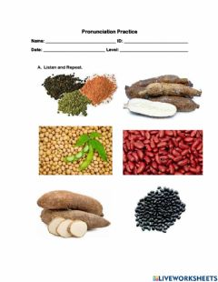 Interactive worksheet Pronounce Favorite Dishes and Vegetable Roots