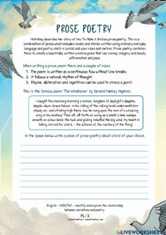 Interactive worksheet How To Make A Bird - Prose Poetry