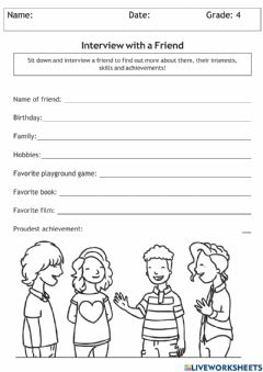 Interactive worksheet Interview With a Friend
