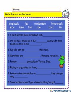 Interactive worksheet Different means of transport