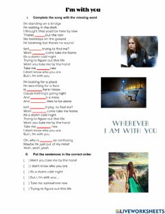 Interactive worksheet I'm with you - Indefinite pronouns song
