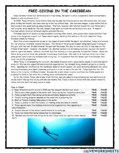 Ficha interactiva Free Diving in the Caribbean PET Reader
