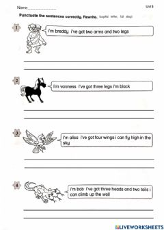Interactive worksheet Punctuation (Supermind Year 2 page 101)