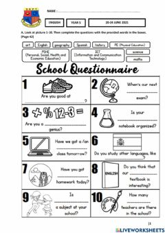 Interactive worksheet Year 5 Plus 1 - Unit 4 Learning World - Student's Book Pages 42 & 43
