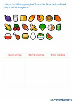 Ficha interactiva Drag and drop food  items into respective categories