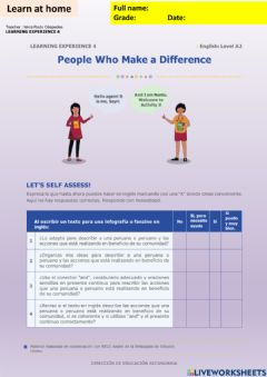 Interactive worksheet People who make a difference activity 1 week15 A2irc