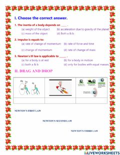 Interactive worksheet Unit 1 laws of motion