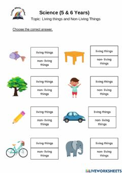 Ficha interactiva 5 & 6 Years: Science (Living & non living things)
