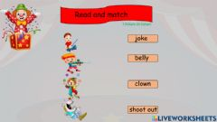 Interactive worksheet Vocabulary Kit the clown text