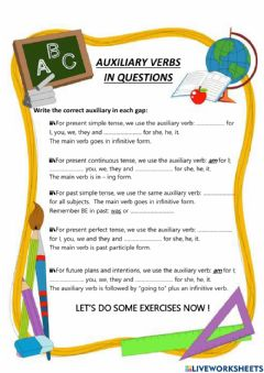 Interactive worksheet Auxiliary verbs in questions