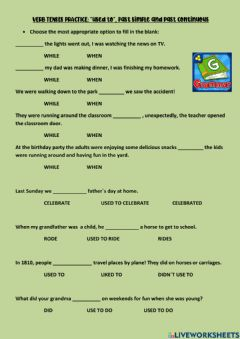 Interactive worksheet Past Continuous and Past Simple