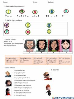 Interactive worksheet Physical description - 4th CRM