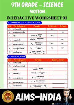 Interactive worksheet 9th-science-ps01-motion