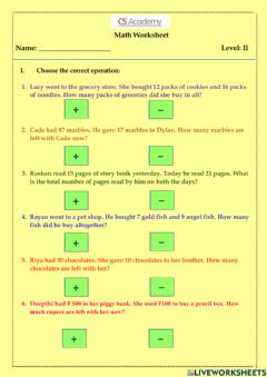 Interactive worksheet Addition and Subtraction