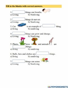Interactive worksheet LIVING and NON LIVING THINGS