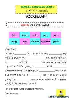Interactive worksheet A Special Day