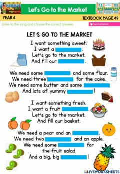 Interactive worksheet CEFR Year 4 Textbook page 49 - Le't Go To the Market Spng