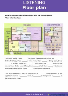 Interactive worksheet There is-are - Floor plan