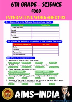 Interactive worksheet 6th-science-ps03-food