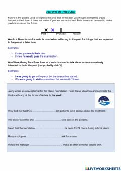 Interactive worksheet Future in the past