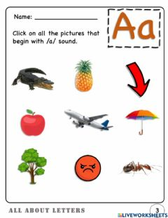Interactive worksheet Letter A : Picture association