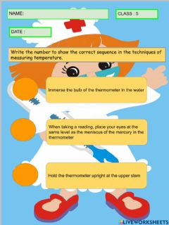 Interactive worksheet Thermometer