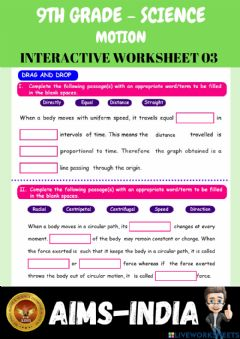 Interactive worksheet 9th-science-ps03-motion