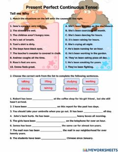 Interactive worksheet Present Perfect Continuous Tense