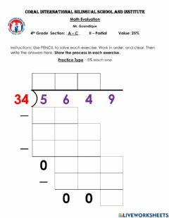 Interactive worksheet Divisions with 1-digit and 2-digtis