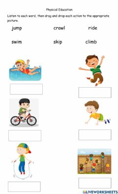 Interactive worksheet Physical Edcuation Actions