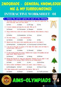 Ficha interactiva 2nd-general knowledge-ps01-me & my surroundings