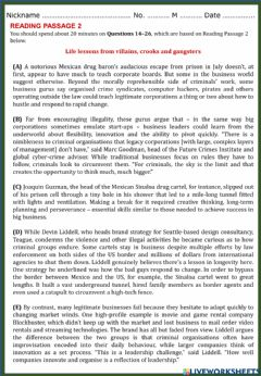 Interactive worksheet Academic Reading 1 - Section 2