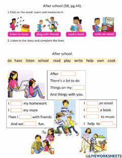 Interactive worksheet Let's play after school.Song.FF2. (pg.44).