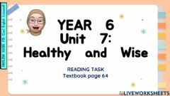 Interactive worksheet Year 6 Unit 7: Healthy and Wise