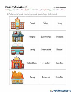 Interactive worksheet Review - city, prepositions, numbers, demonstrative adjectives - 2.10.6°