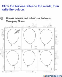 Interactive worksheet Year 1, colours