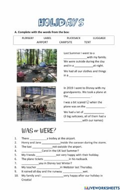 Interactive worksheet Project 2 Unit 3 Holidays