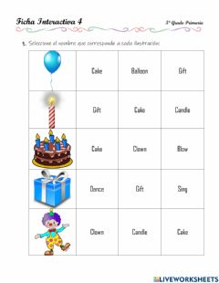 Interactive worksheet Review - Bday party, numbers, present progressive verbs, question words - 2.10.5°