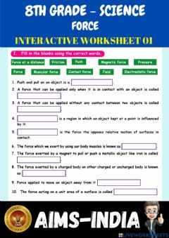 Interactive worksheet 8th-science-ps01-force