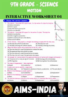 Interactive worksheet 9th-science-ps04-motion