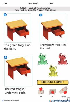 Interactive worksheet Pet Show (Prepositions : Drag and Drop)