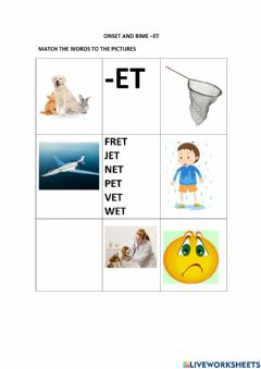 Interactive worksheet Onset and rime -et