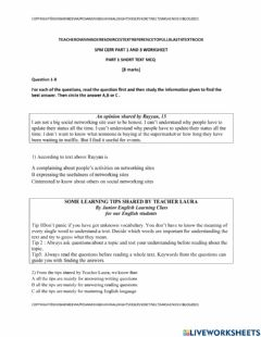 Ficha interactiva Part 1 and part 3 spm cefr reading paper worksheet