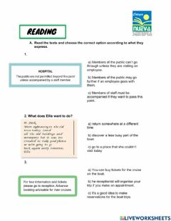 Interactive worksheet Reading and listening. Pet 2- Term test