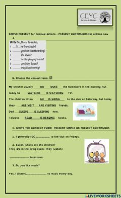 Interactive worksheet Present simple -Present continuous