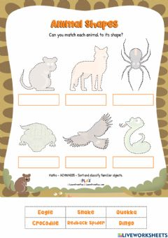 Interactive worksheet Not Cute - Animal Shapes